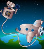 image of outerspace  - Illustration of a robot and an aircraft at the outerspace - JPG