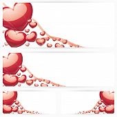Set of horizontal banners with hearts Background