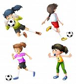 Illustration of the four girls playing soccer on a white background