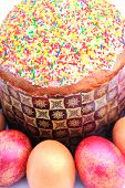 Easter Cake With Sugar Glaze And Painted Eggs