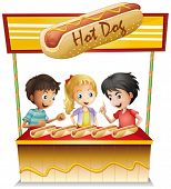 Illustration of the three kids in a hotdog stand on a white background
