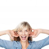 pic of wacky  - Portrait of woman holding her ear while shouting - JPG