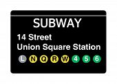 14 Street Union Square Station subway sign isolated on white, New York city, U.S.A.
