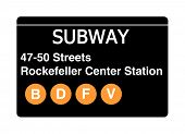 47-50 streets Rockefeller Center Station subway sign isolated on white, New York city, U.S.A.