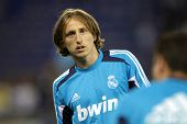 BARCELONA - MAY, 11: Luka Modric  of Real Madrid before the Spanish League match between Espanyol an