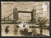 UK - CIRCA 2002: A stamp printed in UK shows image of the Tower Bridge, 1894 (Francis Frith), Bridge