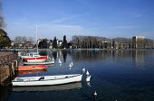 foto of annecy  - View of Annecy city and marina on Annecy lake Savoy France - JPG