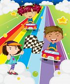 Illustration of the three kids playing car racing