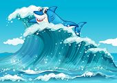 Illustration of a shark above the big waves