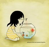 Love - Little brunette girl feeding glowing hearts in a fish bowl, hand-drawn concept illustration