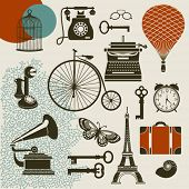Ephemera - Set of design elements and vintage symbols of the old era, including typewriter, old telephones, gramophone with tube, keys and suitcase