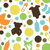 Seamless Baby Themed Pattern