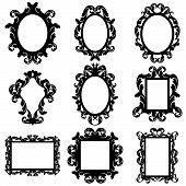 picture of edwardian  - Detailed Vector Set of Baroque Frame Silhouettes - JPG