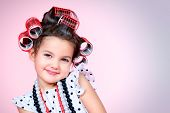 picture of hair curlers  - Portrait of a cute little pin - JPG