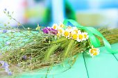 stock photo of veld  - Bouquet of wild flowers and herbs - JPG