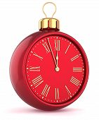 Happy New Year alarm clock countdown bauble Christmas ball ornament decoration