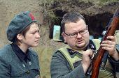 KIEV, UKRAINE -NOV 3 An unidentified members of Red Star history club wear historical Italian uniform during historical reenactment of WWII, Battle for Kiev 1943 on November 3, 2013 in Kiev, Ukraine
