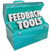 stock photo of soliciting  - Feedback Tools Words Blue Metal Toolbox - JPG