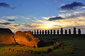 CHILE - FEBRUARY 5: Moais of Ahu Tongariki at sunrise on Easter Island, Chile.