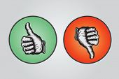Thumbs up and thumbs down illustration in green and red circles