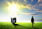Image of businesswoman looking at light bulb. Green energy concept