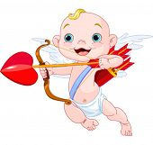 stock photo of bow arrow  - Valentines Day Cupid ready to shoot his arrow - JPG