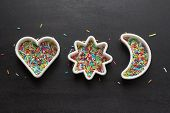 Cookie cutters with candy sprinkles