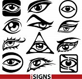 Eye Sign Icons Set