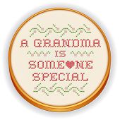 Embroidery, Grandma Cross Stitch On Wood Hoop