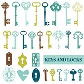 stock photo of lock  - Set of Antique Keys and Locks  - JPG