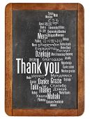 thank you in different languages - word cloud on a  vintage slate blackboard