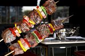 stock photo of kebab  - BBQ with kebab cooking - JPG