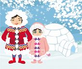 image of eskimos  - eskimos and igloo at the evening  - JPG
