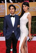 LOS ANGELES - JAN 27:  Kunal Nayyar & Neha arrives to the SAG Awards 2013  on January 27, 2013 in Los Angeles, CA