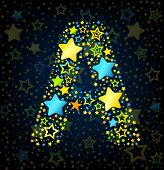 Letter A cartoon star colored