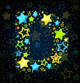 Letter D cartoon star colored