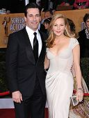 LOS ANGELES - JAN 27:  Jon Hamm & Jennifer Westfeldt arrives to the SAG Awards 2013  on January 27,