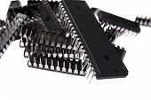 picture of microprocessor  - A heap of microprocessors on a isolated background