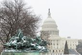 U.S. Capitol Building in snow - Washington DC, United States