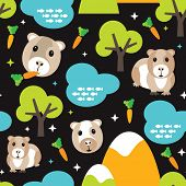Seamless guinea pig garden and carrots illustration background pattern in vector