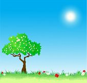 Spring vector Background with tree and flowers