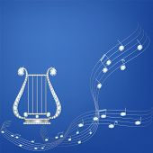 foto of lira  - Silver lira with diamond music notes on blue background - JPG