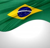 Brazilian flag on plain background