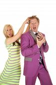 Man Purple Suit Woman Green Dress Grab Hair Crazy