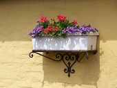 Classical Planter Flowerpot On A Bricks Wall