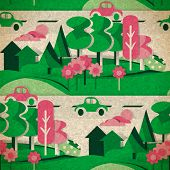 Seamless Pattern Of Cardboard Figures Countryside In Vintage Style