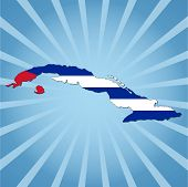 Cuba map flag on blue sunburst illustration