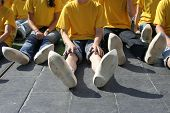 picture of guinness  - 457 children in wooden shoes for world record dance  - JPG