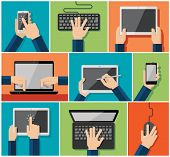 Vector set of flat hand icons holding various hi-tech computer and communication devices