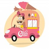 picture of ice-cream truck  - Illustration - JPG